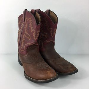 Justin Brown Leather Saddle Vamp Cowboy Boots